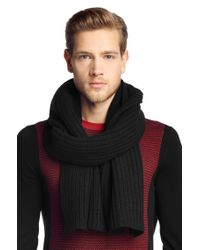 HUGO | Black Scarf In New Wool: 'zaffano' for Men | Lyst