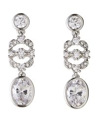 Nadri - Metallic Silver-Tone Three-Tier Stone Drop Earrings - Lyst