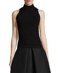 MILLY - Black Sleeveless Roll-Neck Sweater - Lyst