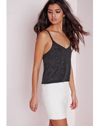Missguided - Black Glitter Crop Top Silver - Lyst