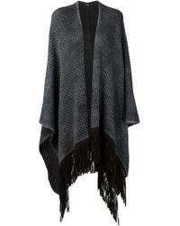 Avant Toi - Gray Fringed Trim Knitted Poncho - Lyst