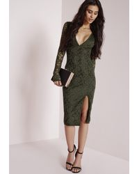 Missguided | Natural Lace Long Sleeve Side Split Midi Dress Khaki | Lyst