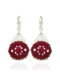 Mark Cross - Red Ruby Carving and Diamond Earrings - Lyst