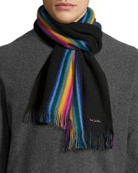 Paul Smith - Black Rainbow Stripe Wool Scarf for Men - Lyst