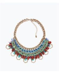 Zara | Multicolor Colored Stones And Chain Necklace | Lyst