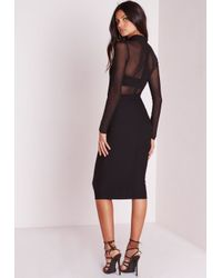 Missguided - Long Sleeve Mesh Top Midi Dress Black - Lyst