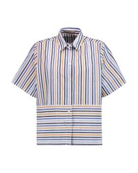 Etro - Blue Striped Cotton Shirt - Lyst