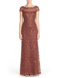 Tadashi Shoji | Brown Lace Column Gown | Lyst