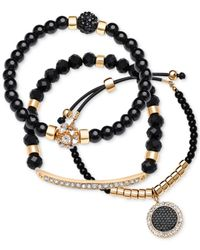 Guess - Gold-tone Black Stone 3-bracelet Set - Lyst