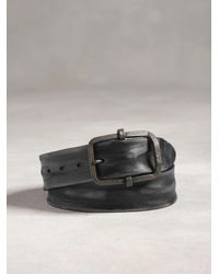 John Varvatos - Brown Distressed Leather Panel Belt for Men - Lyst