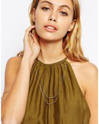 ASOS | Metallic Fine Chains Multi Row Necklace | Lyst