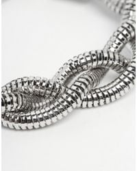ASOS | Metallic Twisted Chain Bracelet In Silver for Men | Lyst