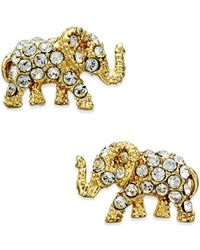 kate spade new york - Metallic Gold-tone Pavé Elephant Stud Earrings - Lyst