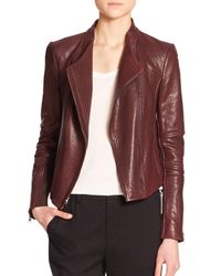 Vince - Purple Leather Moto Jacket - Lyst