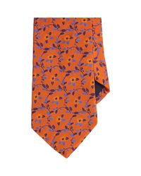 Barneys New York - Orange Floral Vine Neck Tie for Men - Lyst