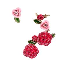 Betsey Johnson | Pink Pave Rose Stud And Ear Cuff Set | Lyst
