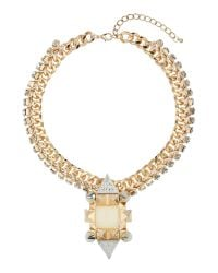 Mikey - Metallic Large Spike, Square Crystal Metal Chain - Lyst