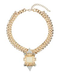 Mikey | Metallic Large Spike, Square Crystal Metal Chain | Lyst