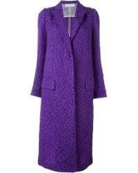 Nina Ricci - Blue Textured Coat - Lyst