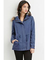 Forever 21   Blue Faux Fur-trim Hooded Parka   Lyst