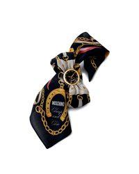 TOPSHOP | Womens Moschino Fashion Victim Black Scarf Watch with Interchangeable Black Strap Black | Lyst