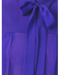 MSGM | Blue Pussy Bow Band Collar Blouse | Lyst
