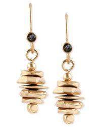 Kenneth Cole | Metallic Gold-tone Stacked Geometric Bead Drop Earrings | Lyst