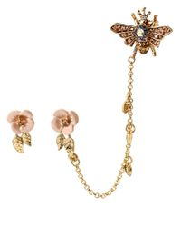 Betsey Johnson | Pink Queen Bee Floral Stud And Bee Cuff Earrings | Lyst
