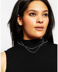 ASOS - Metallic Fine Square Choker & Chain Necklace - Lyst