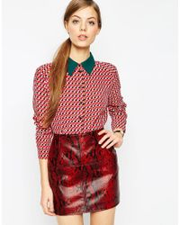 ASOS | Multicolor Geometric Contrast Collar Blouse | Lyst