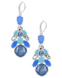 Nine West | Silver-tone Blue Stone Chandelier Earrings | Lyst