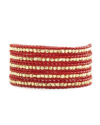 Chan Luu - 24k Gold Plated Sterling Silver Nugget Wrap Bracelet On Bright Red Leather - Lyst