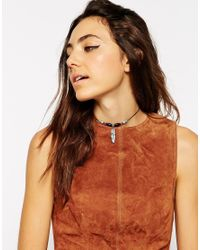 ASOS - Multicolor Feather Bead Choker Necklace - Lyst