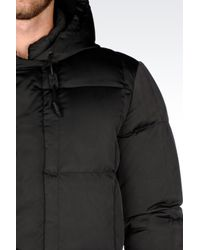 Emporio Armani | Black Down Jacket In Shiny Effect Technical Fabric for Men | Lyst