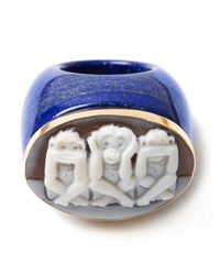 Amedeo | Blue Three Monkeys Signet Ring | Lyst