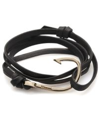 Miansai | Black Leather Gold Hook Bracelet for Men | Lyst