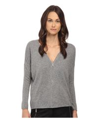 The Kooples | Gray Wool And Cashmere Sweater With Zip Neck | Lyst