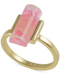 French Connection | Pink Gold-tone Cylinder Stone Ring | Lyst