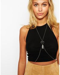 ASOS | Metallic Open Triangle And Crystal Shard Body Harness | Lyst