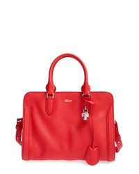 Alexander McQueen | Red 'small Padlock' Leather Duffel Bag | Lyst