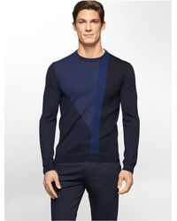 Calvin Klein | Blue White Label Colorblock Merino Wool Sweater for Men | Lyst