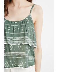 Forever 21 | Green Geo Print Flounce Cami | Lyst