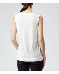 Reiss - White Kali Silk Front Sleeveless Top - Lyst
