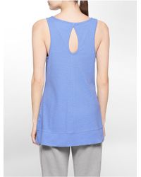Calvin Klein | Purple White Label Performance Keyhole Cutout High Low Tank Top | Lyst