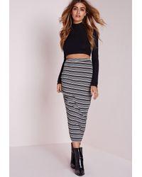 Missguided - Gray Stripe Longline Midi Skirt Grey - Lyst