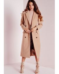 62fa66e53369b Missguided Double Breasted Tailored Long Faux Wool Coat Camel in ...