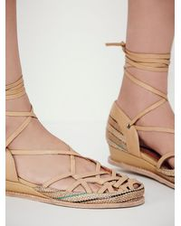 Free People | Natural Jeffrey Campbell Womens Daytona Lace Up Fl | Lyst