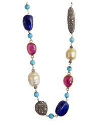 Amrapali | Multicolor Diamond, Pearl, Ruby, Lapis And Turquoise Station Necklace | Lyst