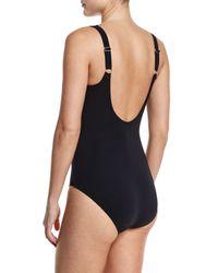Gottex - Black Hourglass Surplice-neck One-piece Swimsuit - Lyst