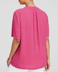 NYDJ - Pink Shirred Split Neck Blouse - Lyst